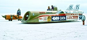 Thrust II at Bonneville Salt Flats with Palouste starter October 1981 photo by Glynne T Bowsher